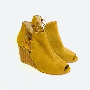 Lucky Brand Camel Open Toe Leather Wedge
